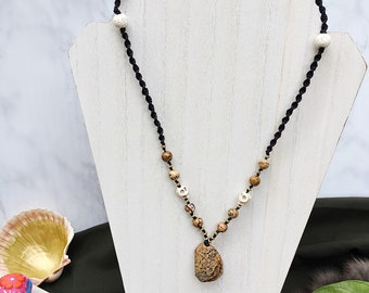 Desert Stone Macrame Necklace with natural stone pendant and stone skull beads