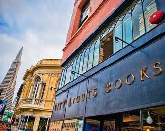 San Francisco photography - Literati Landmark - iconic bookstore - Fine art travel photography - Urban art - red, blue, gold