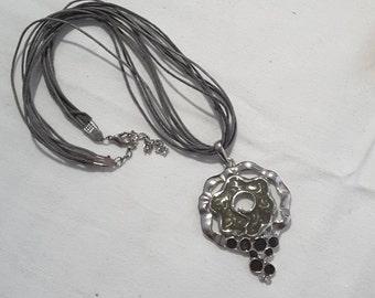 Grey Enamel and Rhinestone Pendant Necklace on Waxed Cord
