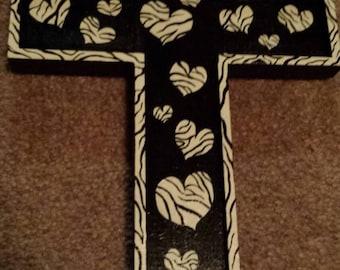 Hand painted zebra print heart wooden cross decor