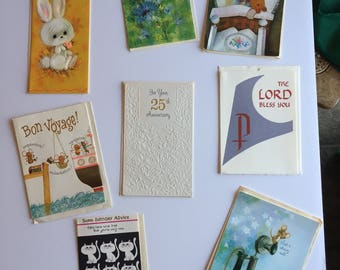 8 Unused Vintage Greeting Cards with envelopes