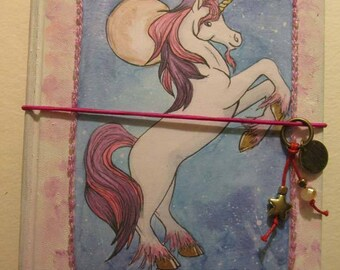 Unicorn travelers notebook  midori fauxbonichi hobonichi planner upcycled hardcover book with insert pink purple booklet tags