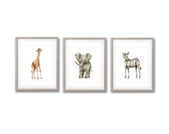 Safari Nursery Art, Elephant, Giraffe, Zebra, Gender Neutral Baby, Animal Print, Childrens Art, Wall Decor, Jungle Paintings, Kids Room