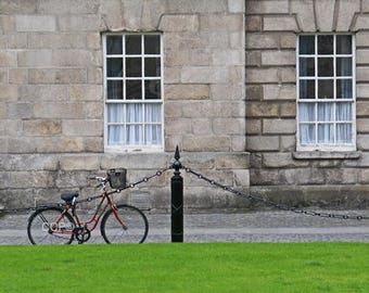 Ireland Print, Bike Photo, Fine Art, Ireland Photograph, 5 x 7 Print, Dublin Decor, Wall Art, Window Print, Trinity College, Gtay Stone