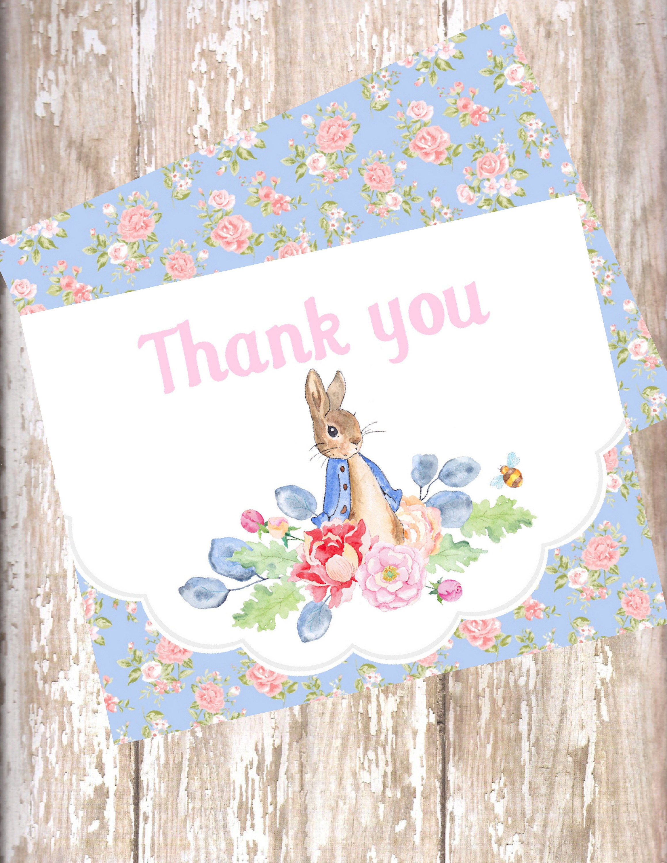 Peter Rabbit watercolor floral Thank You 12 birthday baby