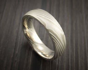 Mokume palladium and sterling silver ring solid ring design handcrafted wedding band
