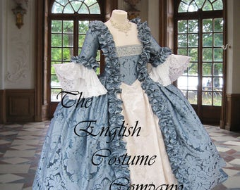Venice Carnival.Colonial Georgian 18th century Marie Antoinette Day Court gown. Fully Corseted