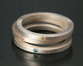 Sterling Silver Rainbow Diamond Stackers--Silver Stacking Rings Flat Set with Genuine Colored Diamonds - Yellow, Teal, and Cognac Diamonds