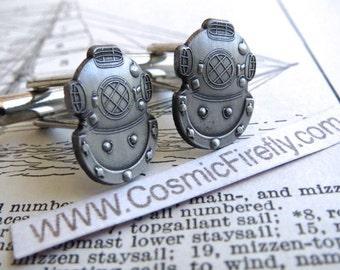 Steampunk Cufflinks Diving Helmet Cufflinks Men's Cufflinks Big Cufflinks Nautical Cufflinks Men's Gifts SMALL SIZE