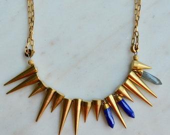 Brass spike necklace; Edgy spiek necklace; Lapis lazuli spike necklace; Labradorite spike necklace