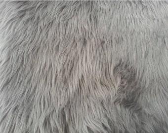 Silver Luxury Shag Faux Fur Fabric