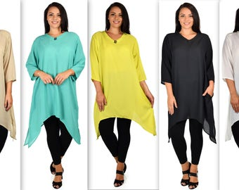 ComfyPlus Georgette Tunic, Asymmetrical Plus size Tunic, Fish tail Tunic, Plus size top with side pockets