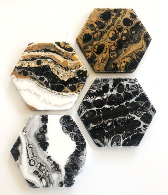 RESERVED for Nora - Set of 4 - Original Art Ceramic & Resin Coasters
