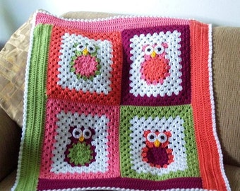 Pattern only Funky Little Owls Crocheted Baby afghan blanket INSTANT DOWNLOAD PDF boy girl custom photo prop