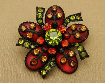 Vintage Selini Pin, Selini Flower Pinwheel Pin, Black Japanned Metal Green Red Stones, Vintage Rhinestone Brooch