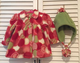 Red fleece swing jacket with hat 12 -18mo.