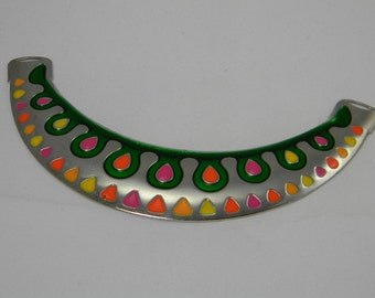 Platinum Necklace Link Multi Colors, Large Necklace Focal, Green Necklace Link, Jewelry Supplies, 125x29x3mm, Yellow Red Pink