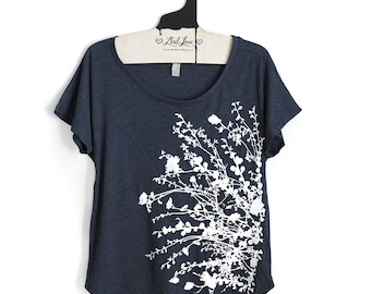 Medium-  Tri-Blend Navy Dolman Tee with Flowering Branches Print