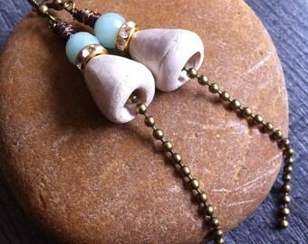 Earrings, bronze, white ceramic, rhinestone-CHIC.