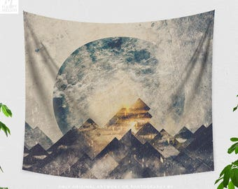 One Mountain Tapestry, Wanderlust Wall Tapestry, Nature Wall Hanging, Bohemian, Boho Wall Art, Spiritual, Abstract, Indie, Gifts, Original