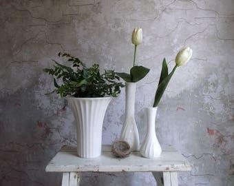 Milk Glass Vase Collection , Set of 3 Vintage Fluted White Milk Glass Vases , Instant Vase Collection , Cottage Chic Bridal Wedding Decor
