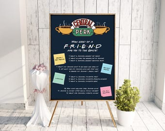 F.R.I.E.N.D.S Central Perk Bridal Shower Sign // Bridal Shower Games // Apartment Game // Foam Boards & Posters // Wedding Sign #5026