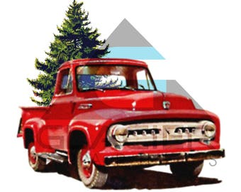Vintage Red Truck Christmas Tree Farm PNG File Transparent Background For Scrapbooking Decoupage Signs Prints