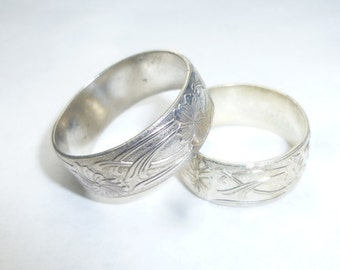Sterling Silver Floral Pattern Wide Ring sizes 4-14