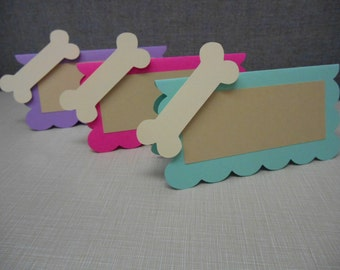 10 Dog Bone and Scalloped Square Food Labels for Parties, Baby Showers, Dog Theme Birthdays
