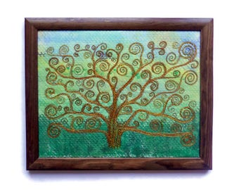 Fiber art Wall hanging Embroidery painting  Tree of life  Framed picture Textile Art Housewarming gifts Cottage pictures