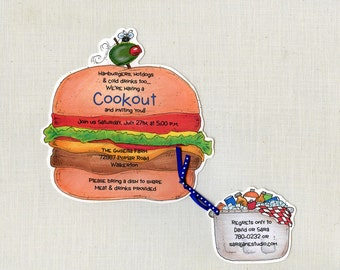 10  Summer Cookout Party Invitations - Hamburger - Hotdog - Birthday Party Invite - Family Reunion - Tailgate - Printed - Artifully Invited