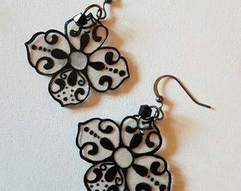 Black and transparent earrings Baroque earrings
