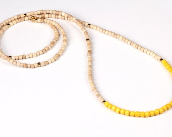 Long Wood Beaded Color Block Necklace