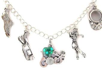 Fancy golfer necklace or golfer bracelet, golfing charm necklace or bracelet with rhinestones, sports jewelry, cart, visor, antiqued silver