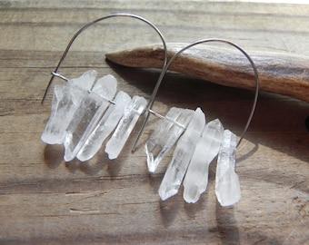 crystal point earrings, mod earrings, hoop earrings, crystal quartz beadwork earrings, rough crystal earrings