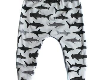 Organic Shark Leggings-Slim Harem Leggings-Baby Boy Leggings-Shark Baby-Hipster Baby-Ocean Baby