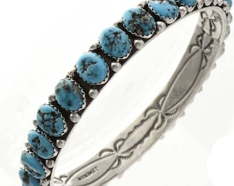 Natural Turquoise Nugget Bangle Bracelet Navajo Jewelry