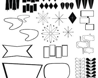 Retro Mid Century Modern Clip Art  Instant Download Scrapbook Supplies