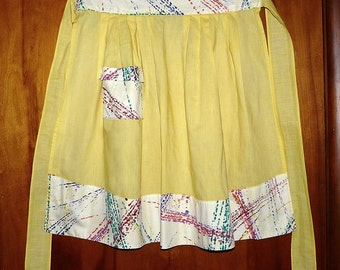 vintage yellow apron with modern splashy print trim