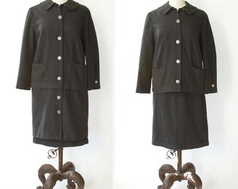 vintage 1960s suit <> 1960s womens suit <> 60s gray wool coat, jacket, and skirt <> 2-way jacket short and long <> adjustable length coat