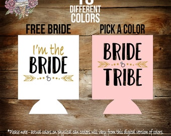 blush pink bride tribe bachelorette party can coolers / bride tribe / bride tribe can coolers / bachelorette party favors / can coolers