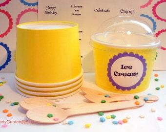 12 Yellow Ice Cream Cups - Large 16 oz