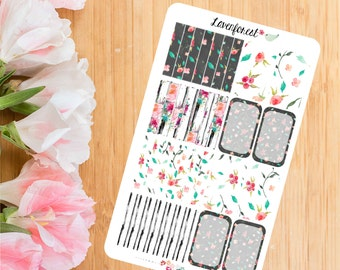 Floral planner stickers | half boxes| headers stickers|HB002