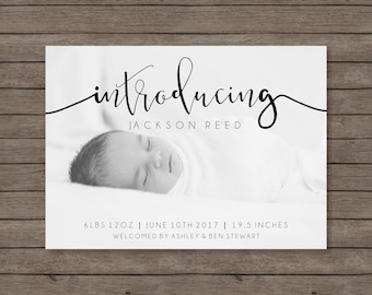 Modern Birth Announcement | Photo Baby Announcement | Baby Girl Announcement | Baby Boy Announcement | Newborn Printable | Calligraphy