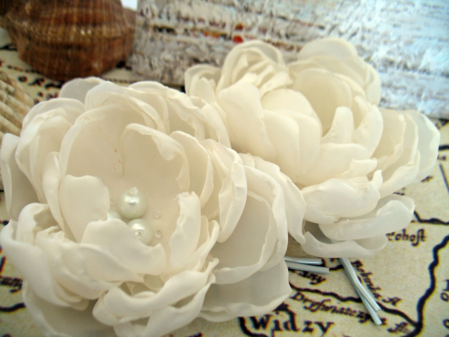 Ivory Fabric Flowers Bridal Hair Clips Flower Hair Pins For