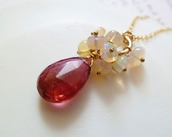 Rubilite Pink Tourmaline drop Ethiopian Opal gold necklace. October birthstone. Pink Tourmaline pendant. Opal cluster. Tourmaline necklace