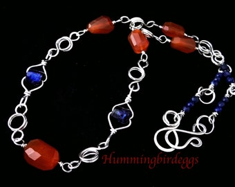 Necklace Basha Bead Carnelian Lapis Lazuli wire wrapped necklace. Handmade sterling silver chain and clasp.  Gift for her.