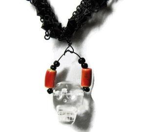 Quartz Skull Necklace,  Carved Quartz Skull Necklace,Carved Quartz Pendant Necklace