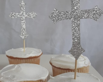 12 Silver Glitter Cross Cupcake Toppers