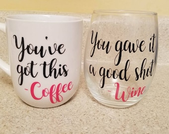 Coffee Mug and Wine Glass